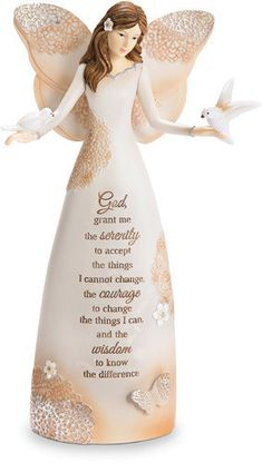 """9"""" Angel holding two doves with the following prayer: Serenity, 9"""" Angel Holding Doves - Light Your Way Every Day - Pavilion <style> .tab-page { display: block }< /style> God, grant me the serenity to"""