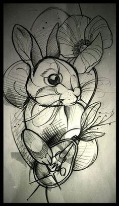 Image result for rabbit traditional tattoo