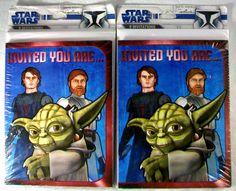 Star Wars Yoda Hallmark Invitations Invited You Are 2 Packages 16 Invites #Hallmark #PartyInvitation
