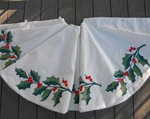 LIMITED EDITION Holly Christmas tree skirt green red Christmas 54 inch berries traditional holiday celebrate Crabby Chris Original