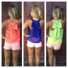 I love those neon bow tanks!