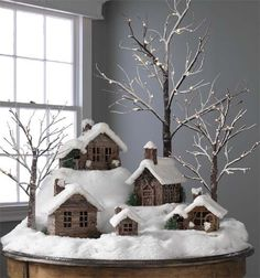 winter log cabin with my collection of vintage ceramic elves!