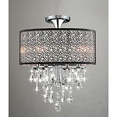 @Overstock - This flush-mount chandelier is beautifully finished in chrome with accenting shades of antique bronze for an elegant lighting design.  The glass and iron work of this piece is a work of art, making this piece a great addition to any decor.  http://www.overstock.com/Home-Garden/Bubble-Shade-Crystal-and-Chrome-Flushmount-Chandelier/6448141/product.html?CID=214117 $139.99