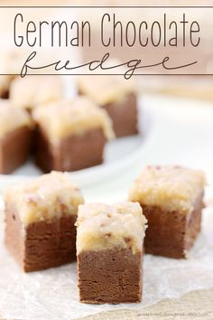 Fudge This German Chocolate Fudge will be the talk of the holidays! Thick chocolate fudge topped with a gooey coconut pecan icing!This German Chocolate Fudge will be the talk of the holidays! Thick chocolate fudge topped with a gooey coconut pecan icing! Fudge Recipes, Candy Recipes, Sweet Recipes, Cookie Recipes, Dessert Recipes, Instant Recipes, Quick Recipes, Homemade Fudge, Homemade Candies