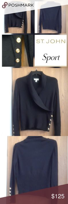 TONIGHT ONLY SALE!!! FABULOUS ST.JOHN SWEATER! ABSOLUTELY FABULOUS ST.JOHN SPORT SWEATER! BLACK/SIGNATURE GOLD & SILVER BUTTONS. WORN A FEW TIMES (has two snags in SWEATER, NO HOLES or RIPS). GREAT SWEATER!!! St. John Sweaters V-Necks