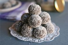 No-Bake Chocolate Energy Bites, a recipe on Food52  We have to try these! They sound delish and healthy!  #BeautifulNow! #Food52 #CinnamonGirl #chocolate #coconut #recipes