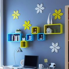 Hi friends. This article is called 15 lovely and inexpensive floating wall shelf ideas. Living Room Partition Design, Room Partition Designs, Living Room Tv Unit Designs, Tv Wall Design, Wall Shelves Design, Diy Wall Shelves, Home Decor Furniture, Home Decor Bedroom, Diy Room Decor