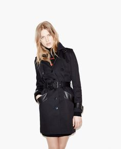Trench coat with leather details - Leather - The Kooples