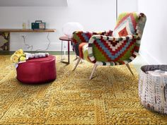 "Persian-esque ""Chenille Charade"" carpet tiles by Flor"