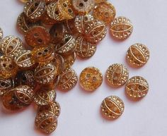 Vintage Glass Buttons   Vintage Amber Topaz Glass Buttons with Gold