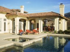 Whenever possible, provide options for those who use your pool. This poolside paradise and covered patio by Marrokal Design and Remodeling allows visitors to lounge in the sun or have a drink or quick bite in the shade.