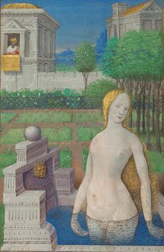 By Jean Bourdichon (1457-1521), 1498/9, 'Bathsheba Bathing', The Book of Hours, Tempera and gold on parchment, France. (The J. Paul Getty Museum)