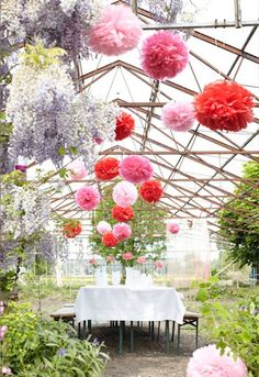 The absolute cutest pom pom decorations for an enchanted fairy party Pom Pom Decorations, Paper Decorations, Wedding Decorations, Outdoor Decorations, Outdoor Ideas, Garden Wedding, Dream Wedding, Greenhouse Wedding, Wedding Pinterest
