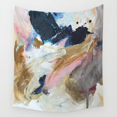 Pink, grey, ochre, blue, white, beige, red, creme, abstract