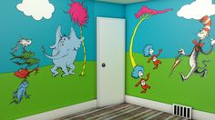 Dr seuss mural, dr seuss nursery, baby nursery themes, nursery wall a Baby Nursery Themes, Baby Decor, Nursery Wall Art, Nursery Decor, Nursery Ideas, Bedroom Ideas, Nursery Inspiration, Girls Bedroom, Room Decor