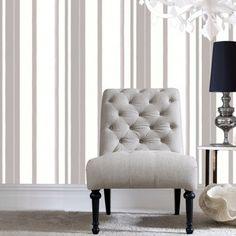 Hoppen Grey and White Striped Wallpaper