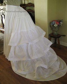 Trained & ruffled 1870s petticoat