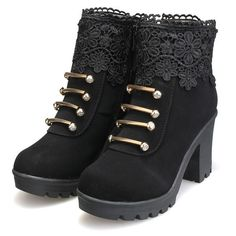 Artificial Leather Lace Bead Metal Ankle Zipper Platform Chunky Heel Boots is hot-sale. Come to NewChic to buy womens boots online. Dark Fashion, Gothic Fashion, Fashion Shoes, Fashion Clothes, Crazy Shoes, Me Too Shoes, Fab Shoes, Awesome Shoes, Heeled Boots
