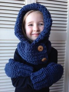 Super soft Crocheted Child's Hooded Cowl with by ACozyCrochet, $40.00
