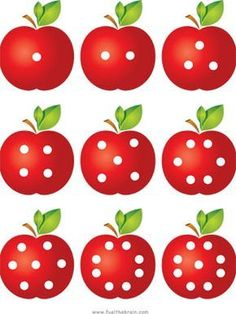 A set of playing cards with dot patterns and the corresponding numeral. Preschool Apple Theme, Apple Activities, Fall Preschool, Preschool Learning Activities, Autumn Activities, Kindergarten Activities, Preschool Activities, Kids Math Worksheets, Math For Kids