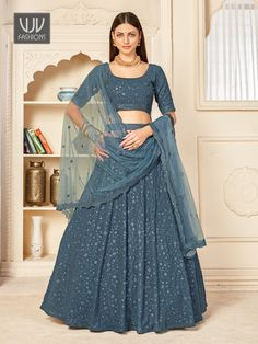 Rs5,600.00 Lehenga Choli, Party Wear Lehenga, Saree Shopping, Georgette Fabric, Indian Wedding Outfits, How To Dye Fabric, World Of Fashion, Gray Color, Sequins