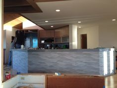 Another comprehensive remodel nearing completion. This shot is the kitchen island with a Porcelanosa facade. Facade, Kitchen Island, Beach House, Construction, Group, Architecture, Home, Beach Homes, Building