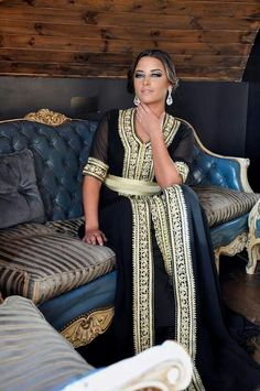 Black and gold Moroccan caftan