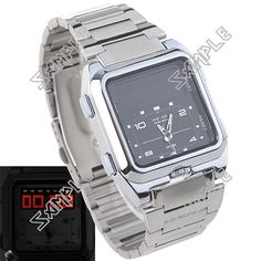Analogue & Digital Stainless Steel Wrist Watch with Dual Time Display & 3 Groups of Alarm for Men - Square Face Low Price Watches, Square Faces, Casio Watch, Watches For Men, Stainless Steel, Display, Digital, Accessories, Floor Space