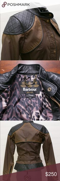 Barbour Gold Label by Temperly  Somerset Jacket Waxed Jacket with Quilted Leather Barbour Jackets & Coats Utility Jackets