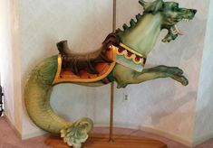 Circa 1900 Looff Sea Monster Very rare roached mane sea monster, with jewels and high-back bat wing saddle. Custom oak stand and brass pole included. Mary Go Round, Carosel Horse, 17th Century Art, Pet Rocks, Sea Monsters, Medieval Art, Antique Toys, Whimsical Art, Bat Wings