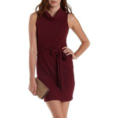 Charlotte Russe Burgundy Ribbed Cowl Neck Sleeveless Dress by... ($27) ❤ liked on Polyvore featuring dresses, burgundy, sleeveless turtleneck dress, bodycon dress, red body con dress, sleeveless turtleneck tops and burgundy bodycon dress