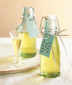 Limoncello in small bottles and glass