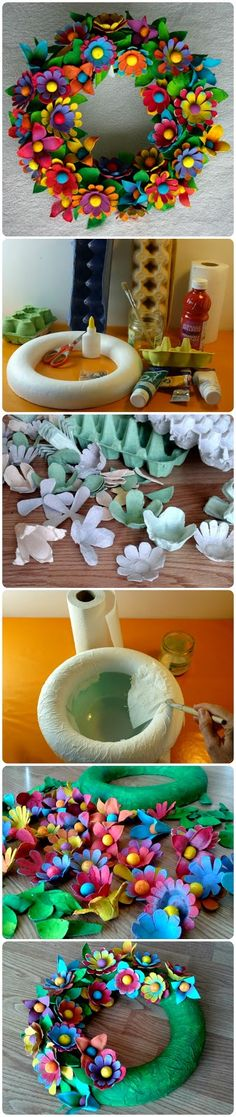Trendy Ideas For Flowers Wreath Egg Cartons Summer Crafts, Crafts For Kids, Egg Carton Crafts, Garden Party Decorations, Wedding Table Flowers, Paper Crafts Origami, Recycled Crafts, Diy Flowers, Egg Cartons