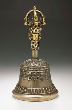 Bell Tibet, c. 18th century Gilt copper alloy (and bell metal) Height: 7 3/8 in. (18.74 cm); Diameter: 3 3/4 in. (9.53 cm)  Southern Asian Art Council LACMA (M.2001.158.1–2)  © Museum Associates/Los Angeles County Museum of Art