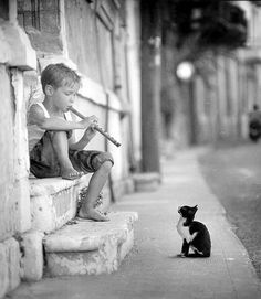 Boy playing music for attentive kitty.