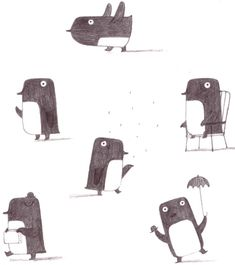 christinepym:    Penguin sketches.