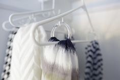 Use shower curtain rings to organize your scarves on a hanger: Closet Hacks  http://blog.diynetwork.com/maderemade/2014/05/07/spring-cleaning-fever-diy-customized-closets/?soc=pinterest