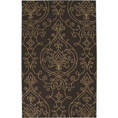 Brown Ornate Rain Rug by Surya, Patterned Rugs,Round & Oval Rugs, Rugs for Children