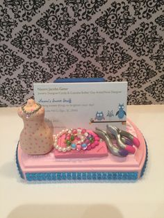 Polymer clay Business card holder, card holder,jewelry designer, jewelry business card holder, jewelry shop by NaomisSweetStuff on Etsy