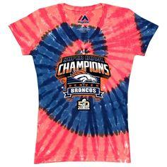 ae0638a2f Denver Broncos - Super Bowl Shield Tie Dye Womens T-Shirt Super Bowl T  Shirts