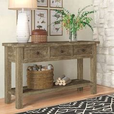 The Console Table Flowers Diaries - Pecansthomedecor Rustic Living Room Furniture, Beach Furniture, Table Flowers, Wood Pieces, Farmhouse Table, Farmhouse Decor, Wood Shelves, Online Furniture, Decorating Rooms