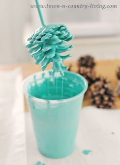 Dipping Pine Cones in Paint for a Custom Look
