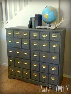 Faux Card Catalog, but really its an 8 drawer dresser! So smart!