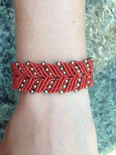 Boho Chic Micro Macrame Bracelet Burnt Orange and by OmManiDesign