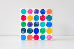 Hand Painted Art Tile . Wall Tiles . Coasters  Polka by funkytiles, $8.00
