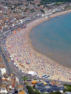 Weymouth Beach, Dorset, England | Temperatures set to soar in one-day heatwave... but thunder is on the ...
