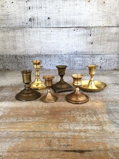 Brass Candlestick Holders 6 Mix Matched Brass Candle Holders Mid Century Candlestick Holders Brass Taper Candle Stick Holders Wedding Decor by TheDustyOldShack on Etsy
