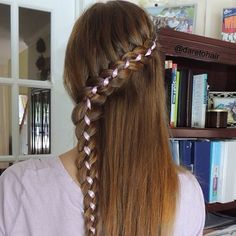 Lace four strand ribbon braid, i just love the pop of color!  daretohair's photo on Instagram