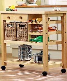 Looking for one of these right now...mobile, great for entertaining, and gives extra counter space:))
