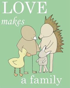 Nursery Art Print Love Makes a Family Sweet by barkingbirdart, $18.00